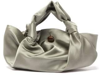 The Row The Ascot Grey Satin Clutch Bag - Womens - Light Green