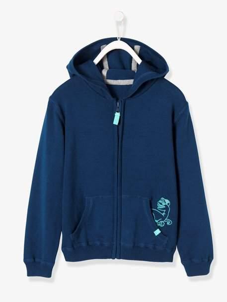 Boys' Hooded Jersey Knit Jacket - blue dark solid