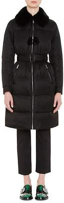 Prada Women's Mink-Fur-Trimmed Tech-Twill Coat