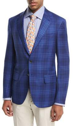 Isaia Sanita Plaid Super 140s Wool Two-Button Sport Coat, Blue