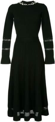 Oscar de la Renta pearled knitted pleated dress