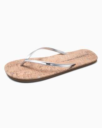 Southern Tide Womens Promenade Cork Flip Flop - Metallic Silver