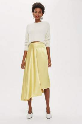 Topshop Satin Drape Midi Skirt
