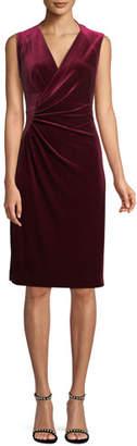 Elie Tahari Dolly Side-Ruched Sleeveless Velvet Sheath Dress