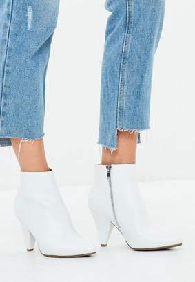 Missguided White Cone Heel Ankle Boots