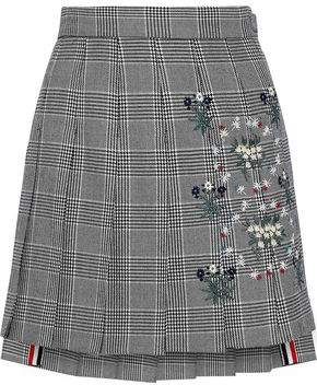 be2bc9fc32 Thom Browne Embroidered Pleated Prince Of Wales Checked Wool Mini Skirt