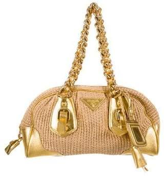 Prada Straw & Leather Bag