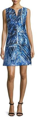 Milly Sleeveless Split-Neck Printed Dress, Blue $395 thestylecure.com