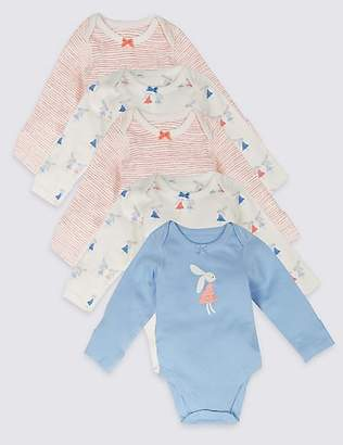 Marks and Spencer 5 Pack Long Sleeve Pure Cotton Bunny Bodysuits