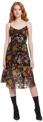 Alice + Olivia Heather Cowl Neck Midi Dress