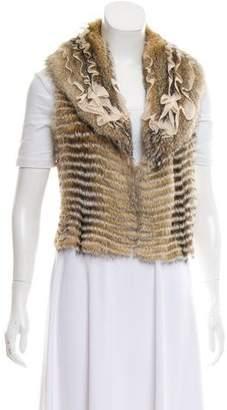 Bergdorf Goodman Silk-Trimmed Fur Vest w/ Tags