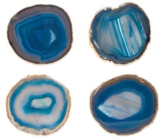 AERIN Set Of Four Gold Plated Agate Coasters - Green Multi