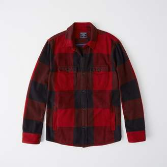 Abercrombie & Fitch A&F Men's Flannel Shirt Jacket in Red - Size XL
