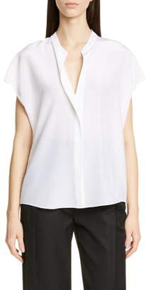 Vince Back Slit Short Sleeve Silk Blouse