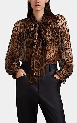 Dolce & Gabbana Women's Leopard-Print Silk Chiffon Tieneck Blouse