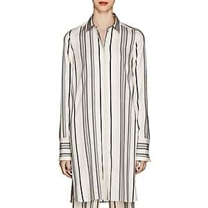 Jil Sander Women's Gienpro Striped Silk Satin Blouse - Wht.&blk.