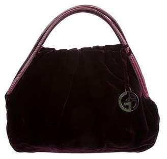 Giorgio Armani Embossed-Trimmed Velvet Bag