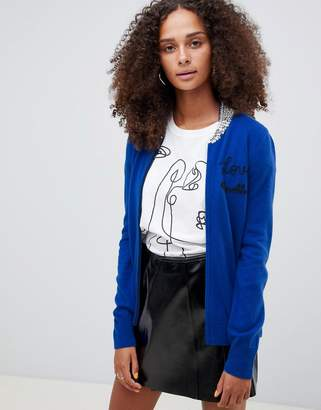 Love Moschino Wool Cashmere Blend Bomber Cardigan