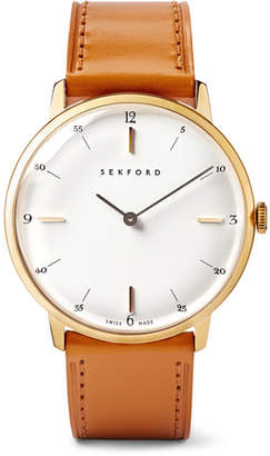 Sekford Type 1a Gold Pvd-Coated Stainless Steel And Leather Watch