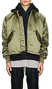 Fear Of God Men's Satin Insulated Hooded Bomber Jacket - Green