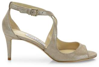 Jimmy Choo Emily Shimmery Leather Crisscross Sandals