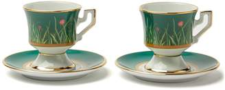 LA DOUBLEJ EDITIONS Floral and ladybird-painted espresso cup set