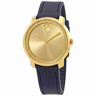 Movado Bold Yellow Gold Sunray Dial Ladies Leather Watch 3600474