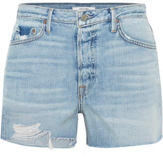 GRLFRND Helena Distressed Denim Shorts - Mid denim