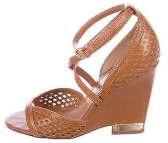 Tory Burch Leather Perforated Wedges