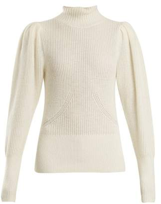 Frame High Neck Wool Blend Ribbed Knit Sweater - Womens - Cream