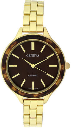 GENEVA Geneva Womens Tortoise-Look Bezel Gold-Tone Bracelet Watch
