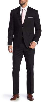 Perry Ellis Black Solid Two Button Notch Lapel Very Slim Fit Suit