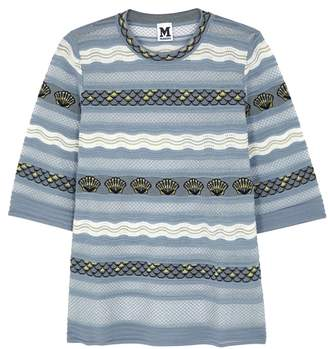M Missoni Steel Blue Shell-intarsia Fine-knit Top
