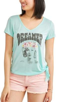Licensed Juniors' Graphic Open Back w/ Side Tie Short Sleeve T-Shirt