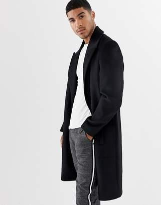 Asos DESIGN wool mix overcoat with peak lapel in black