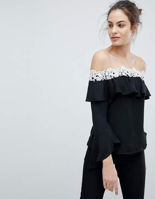 Lipsy Off Shoulder Top With Corded Lace Trim