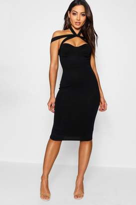 boohoo Rita Strappy Top Detail Midi Bodycon Dress $35 thestylecure.com
