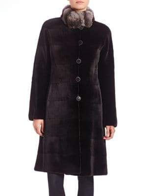 The Fur Salon Reversible Fur-Trimmed Velvet Coat