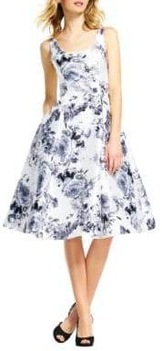 Adrianna Papell Mikado Tea Length Floral Dress