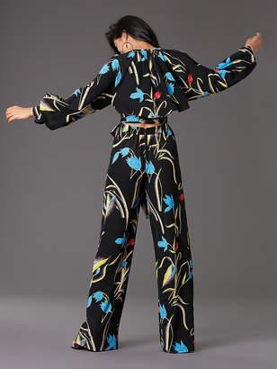 Diane von Furstenberg Long Sleeve Front Tie Jumpsuit