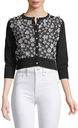 Karl Lagerfeld Paris Floral-Applique Cropped Cardigan