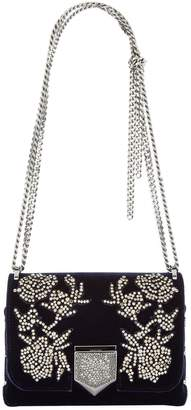 Jimmy Choo Lockett Small Velvet Embellished Shoulder Bag