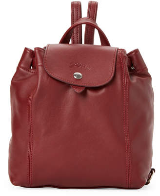 Longchamp Red Lacquer Le Pliage Cuir Backpack