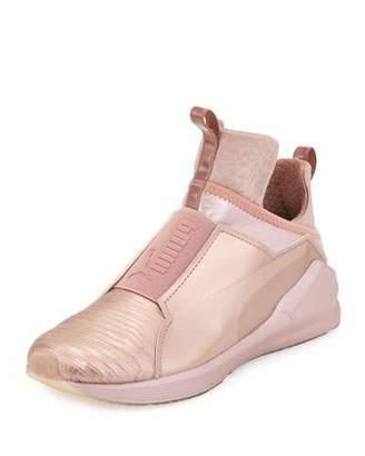 Puma Fierce Lizard-Embossed High-Top Sneaker, Rose Gold $100 thestylecure.com