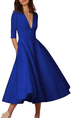 Lettre d'amour Women's Elegant Deep V-Neck 3/4 Sleeve Swing Party Summer Prom Dress XS