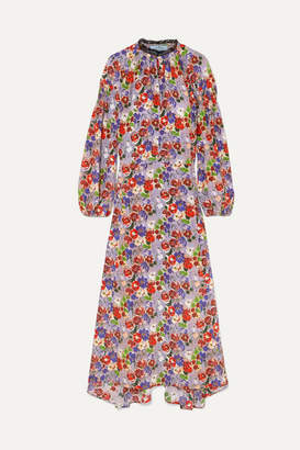 Prada Lace-trimmed Shirred Floral-print Silk-crepe Midi Dress - Lilac