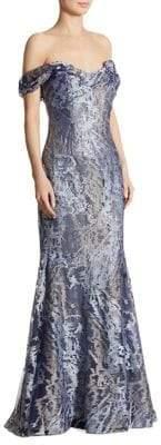 Rene Ruiz Embellished Tulle Mermaid Gown