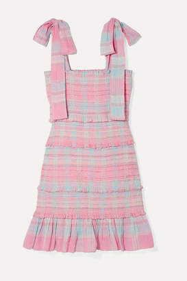 LoveShackFancy Belle Smocked Tiered Checked Cotton-voile Mini Dress - Pink