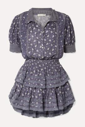 LoveShackFancy Alfie Tiered Crochet-trimmed Floral-print Cotton-voile Mini Dress - Blue