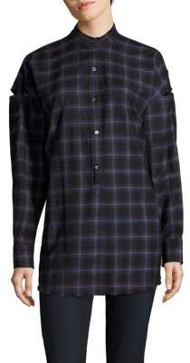Helmut Lang Wool Blend Plaid Shirt